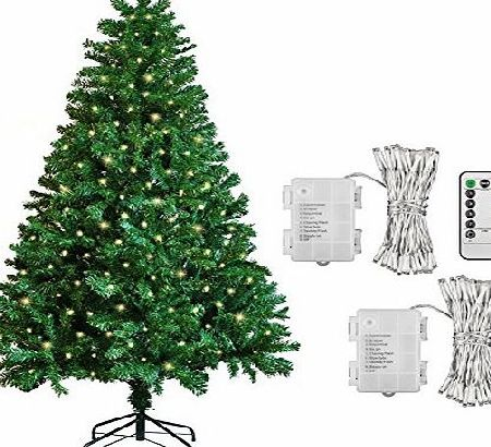 Koopower 6ft Artificial Xmas / Christmas Tree   [2 Pack] 100 LED Warm White Outdoor Battery Fairy Lights Gift Decorations